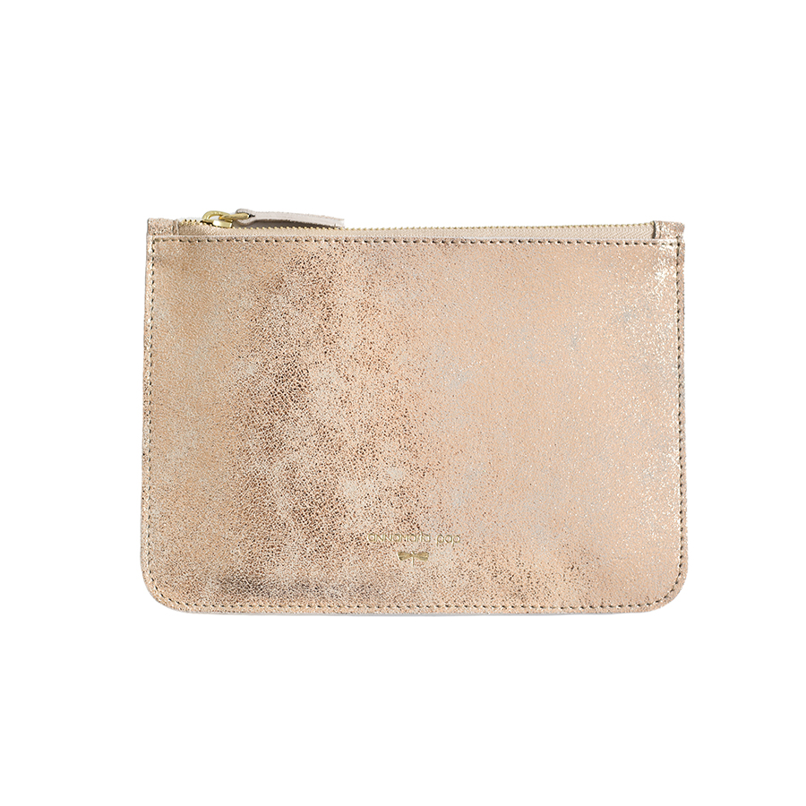 ANNE Rose glitter leather pouch