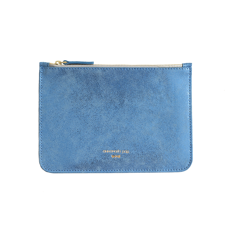ANNE Blue glitter leather pouch