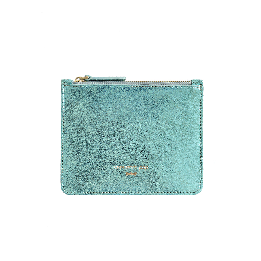 ANNE Turquoise sparkle small leather pouch