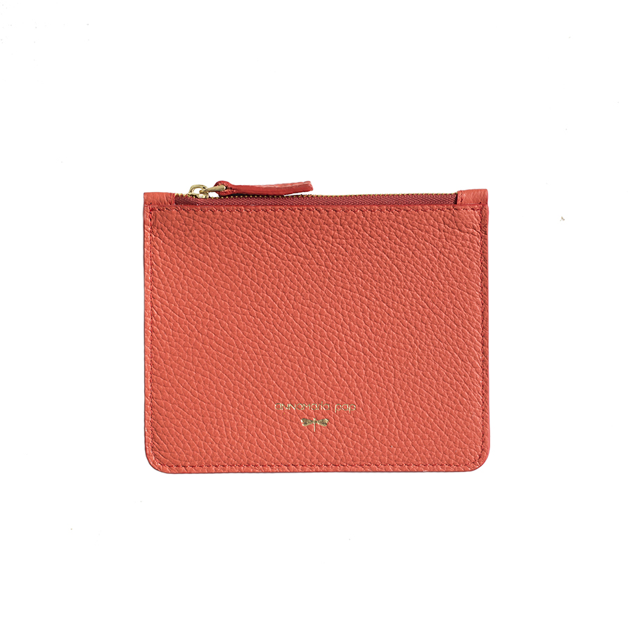 ANNE Coral small leather pouch
