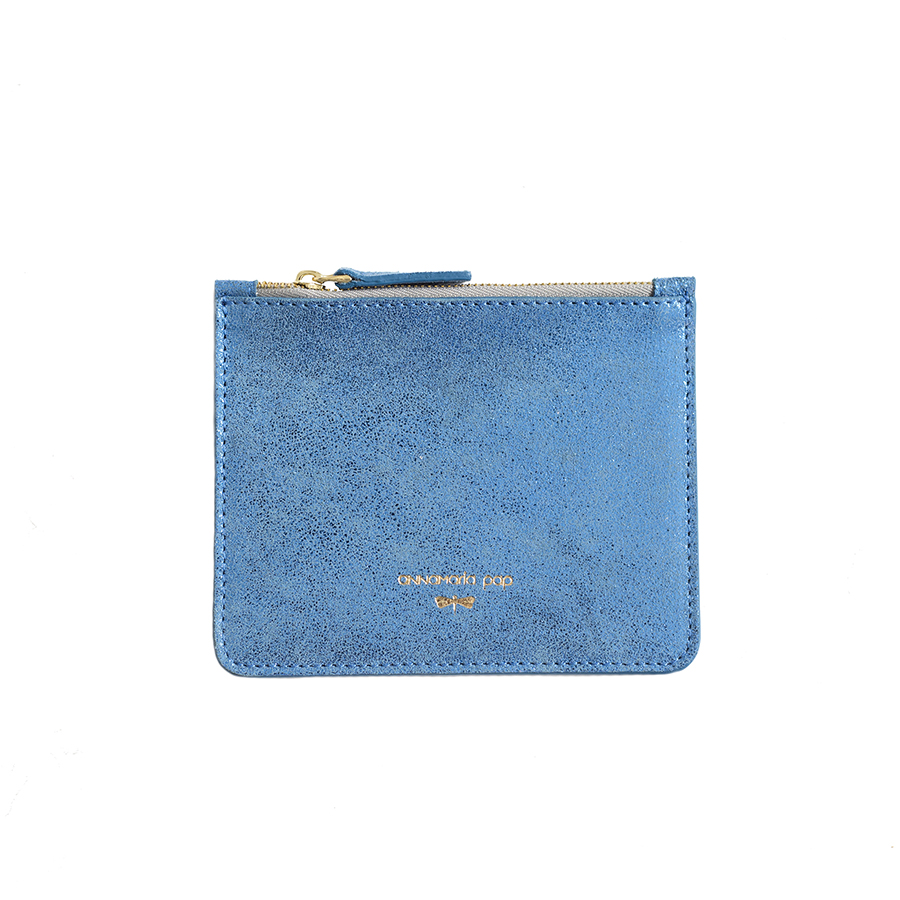 ANNE Blue sparkle small leather pouch