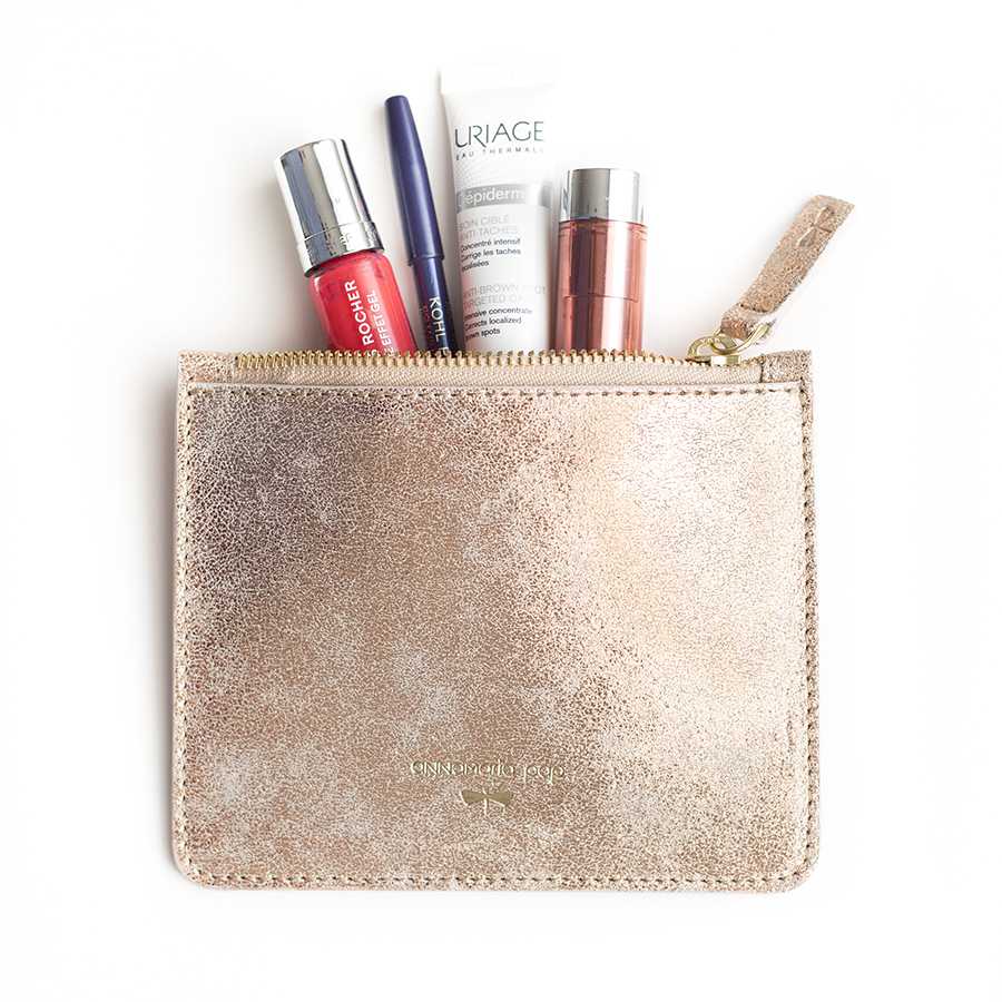 ANNE Rose sparkle small leather pouch