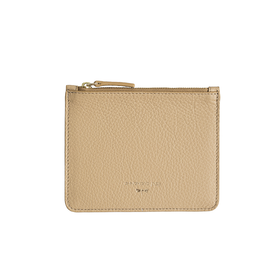 ANNE Sand small leather pouch