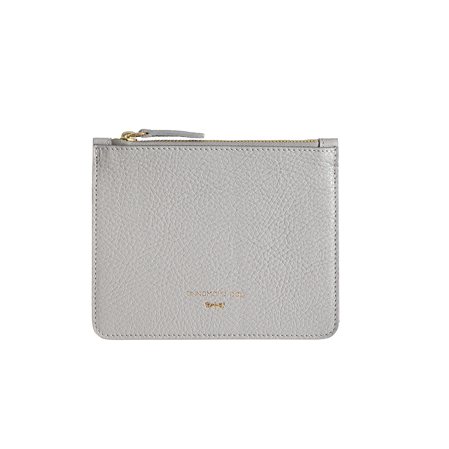 ANNE Grey small leather pouch