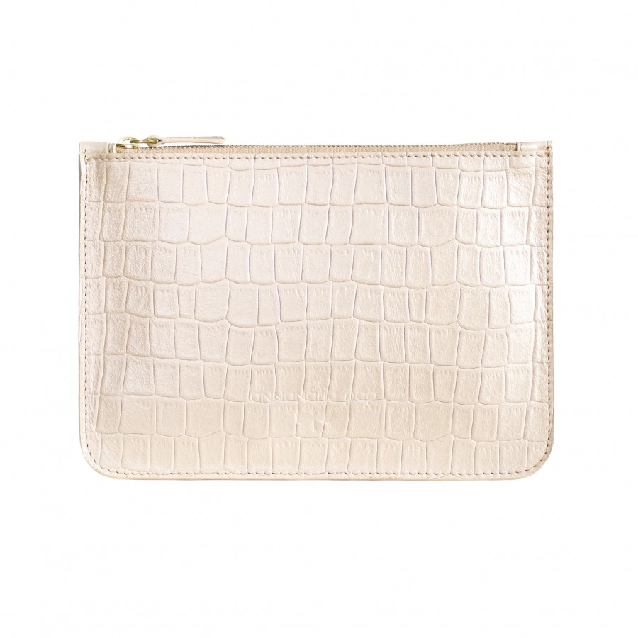 ANNE Croc print leather pouch