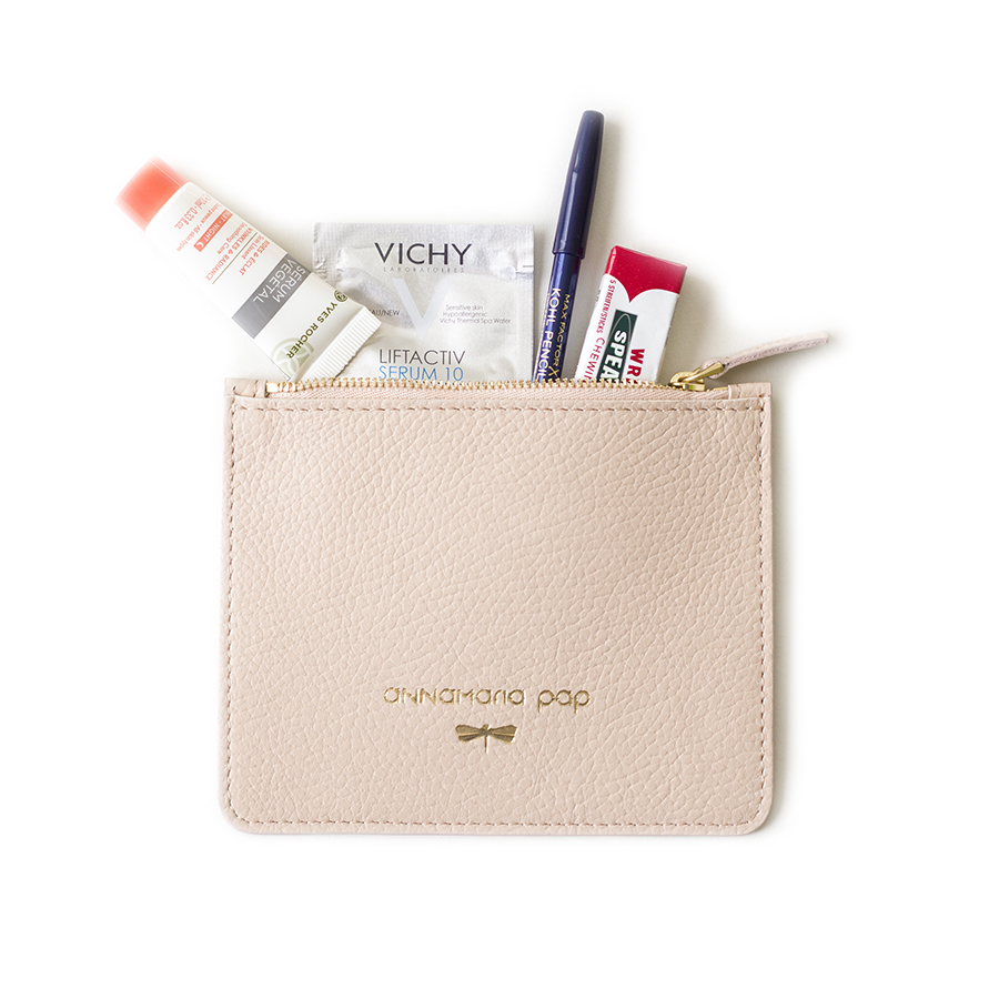 ANNE Powderpink small leather pouch