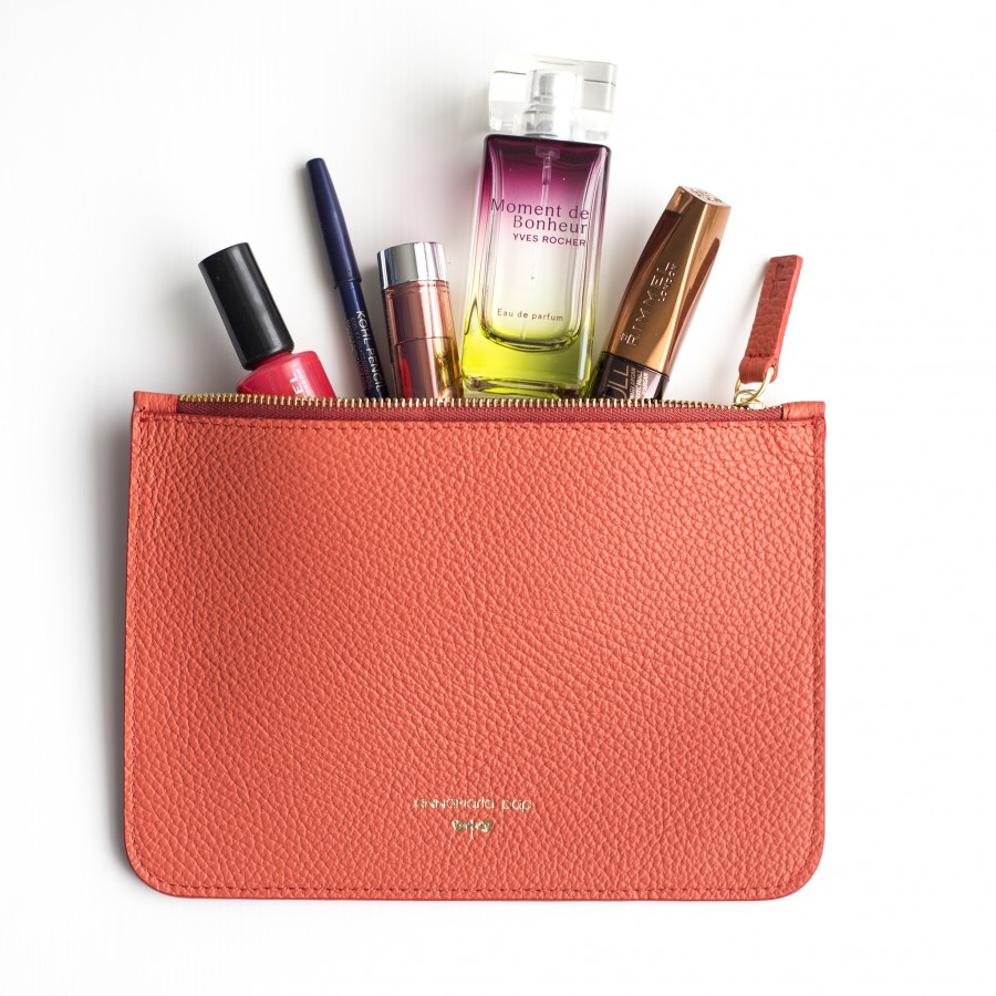 ANNE Coral leather pouch