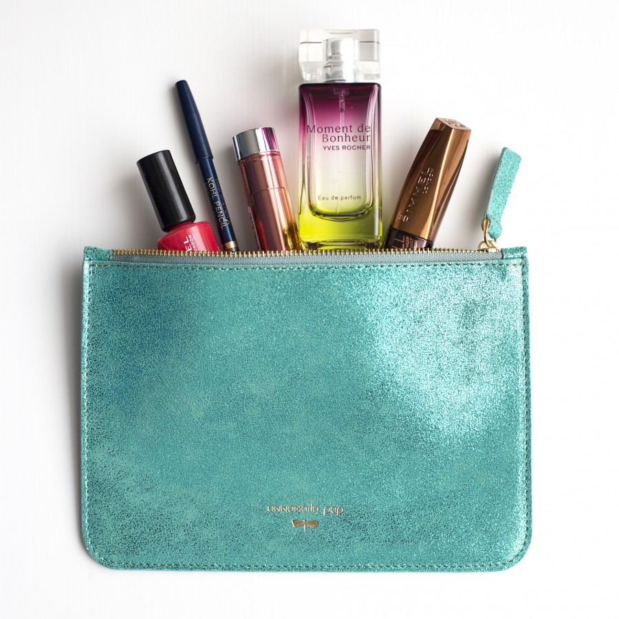 ANNE Turquoise leather pouch