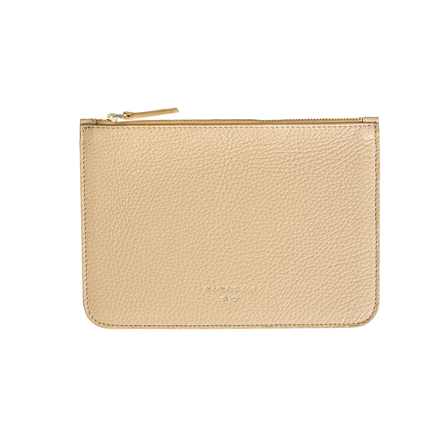 ANNE Sand leather pouch