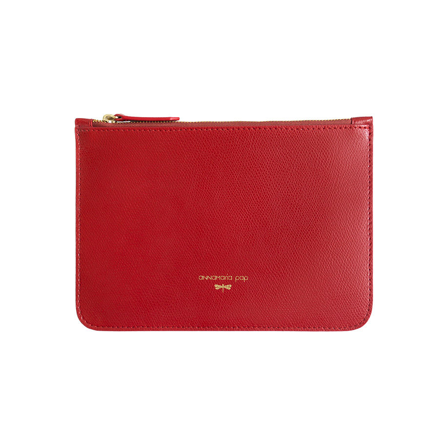 ANNE Sour cherry leather pouch