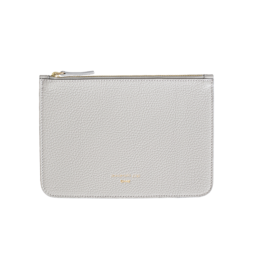 ANNE Grey leather pouch