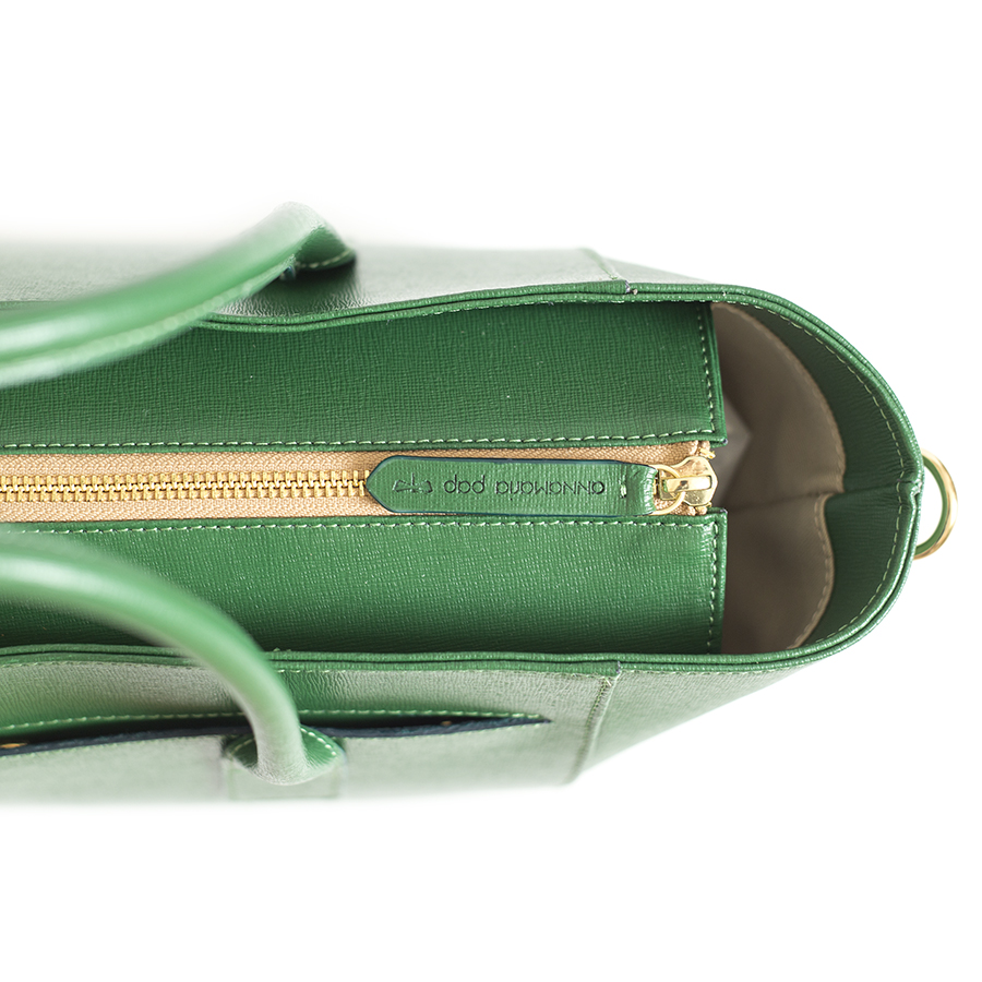 BEVERLY Emerald leather handbag