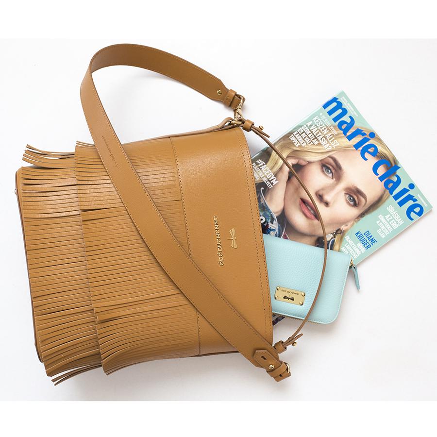 CARLY Cognac fringe handbag