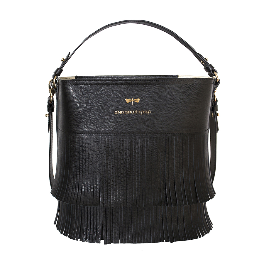CARLY Black fringe handbag