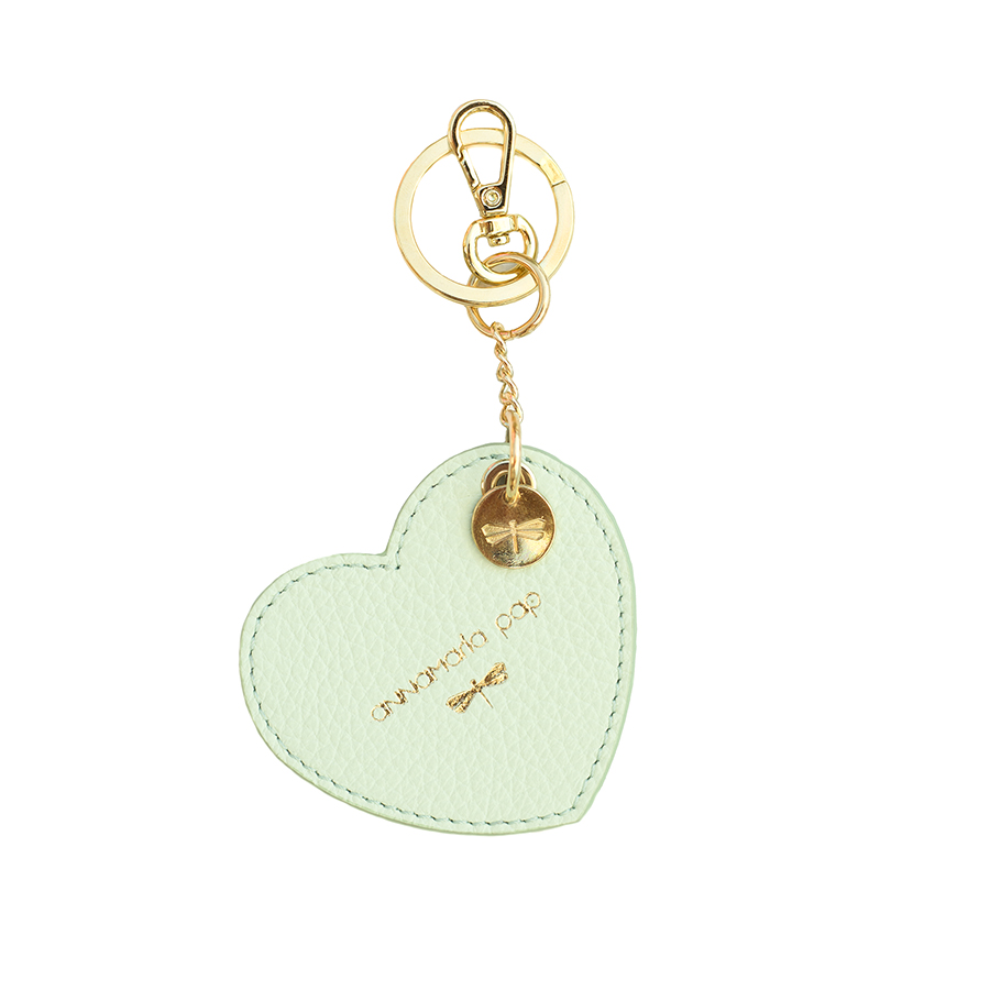 HEART Mint leather charm