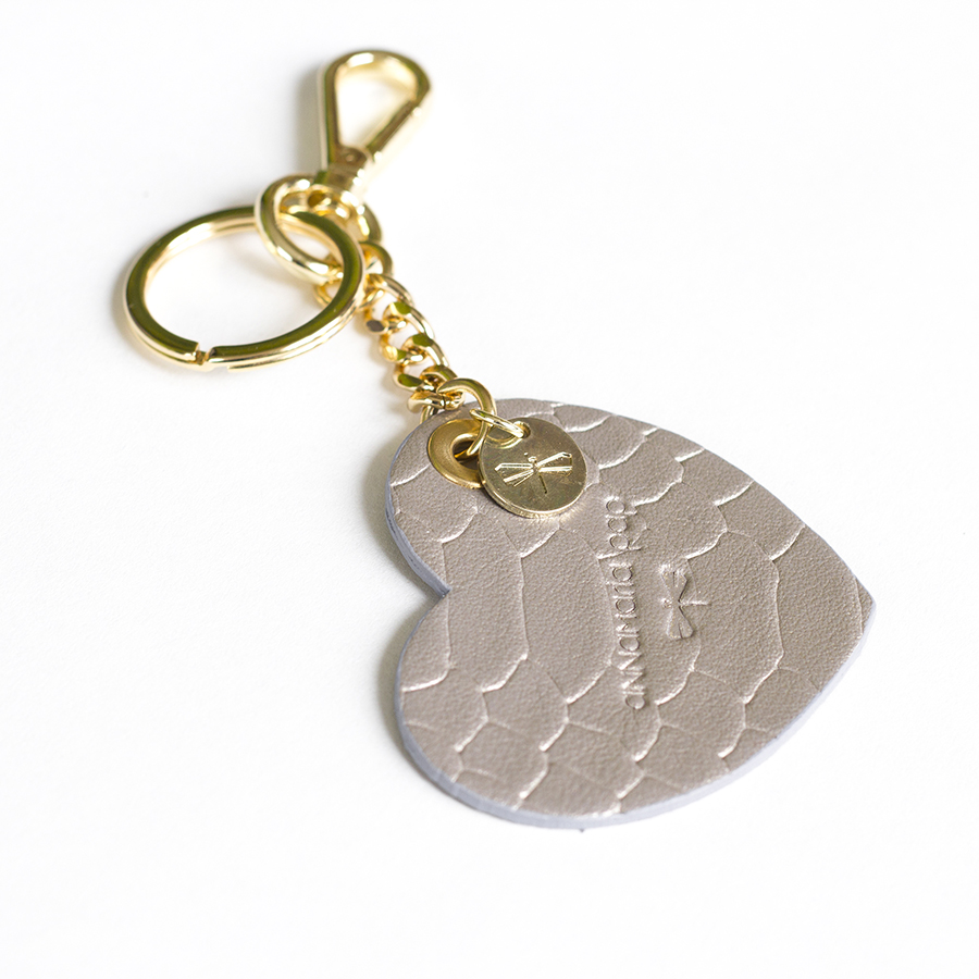 HEART Python printed leather charm