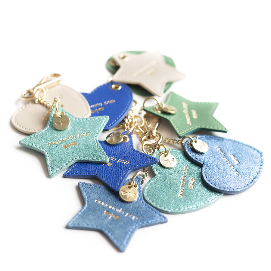 HEART Blue glitter leather charm