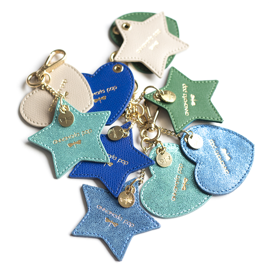 STAR Turquise glitter leather charm