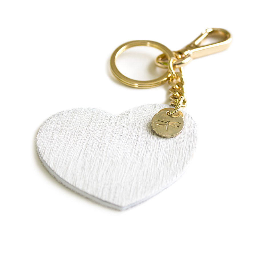 HEART Fur (white) leather charm