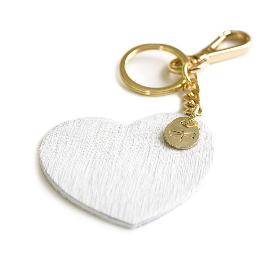 HEART Szőrme (fehér) bőr charm