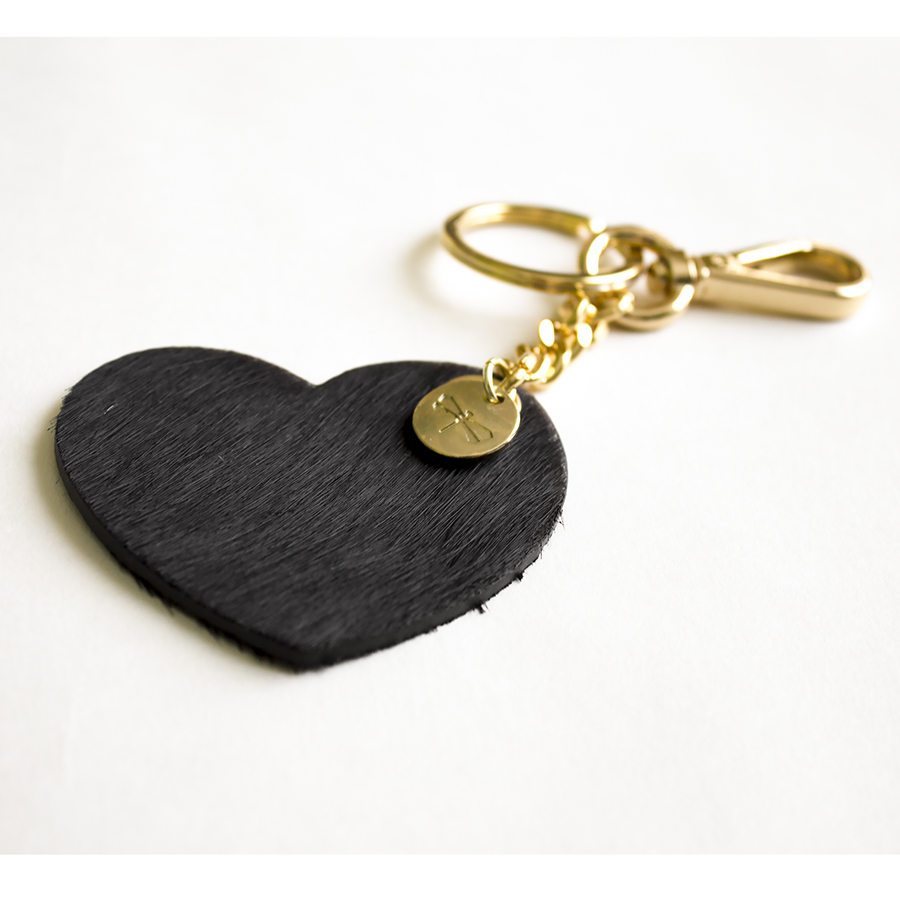 HEART Fur (black) leather charm