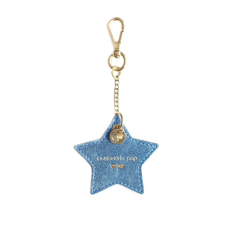 STAR Blue glitter leather charm
