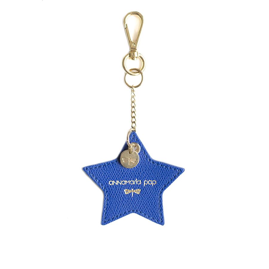 STAR Royalkék bőr charm