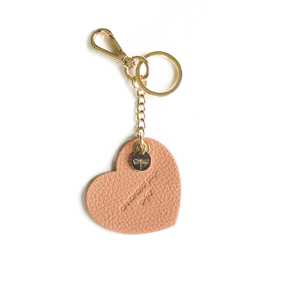 HEART Peach leather charm