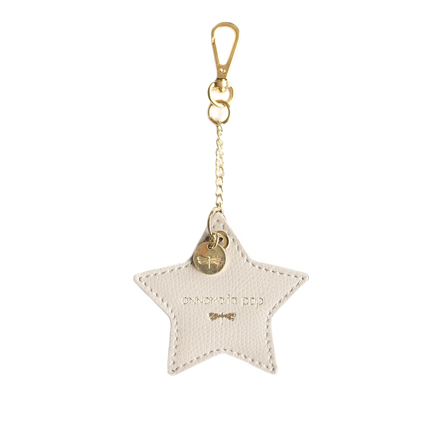 STAR Almondcream leather charm