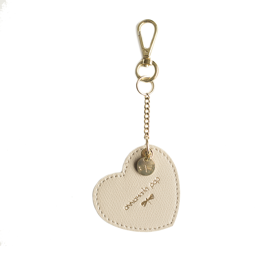 HEART Almondcream leather charm