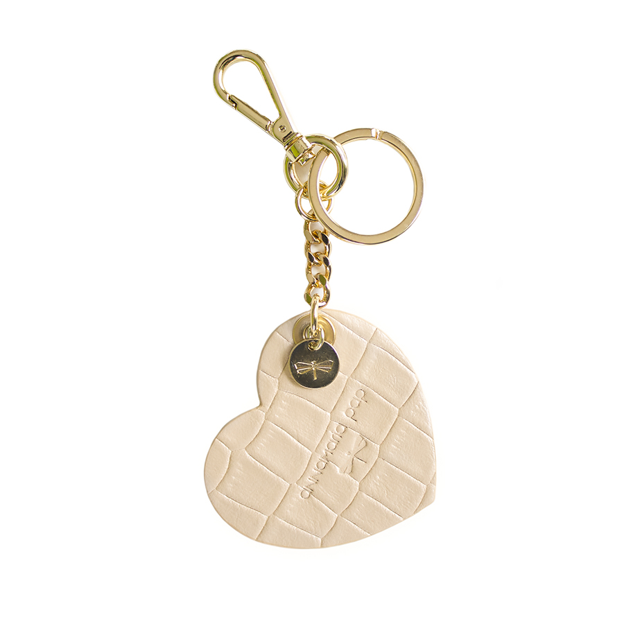 HEART Croc printed leather charm