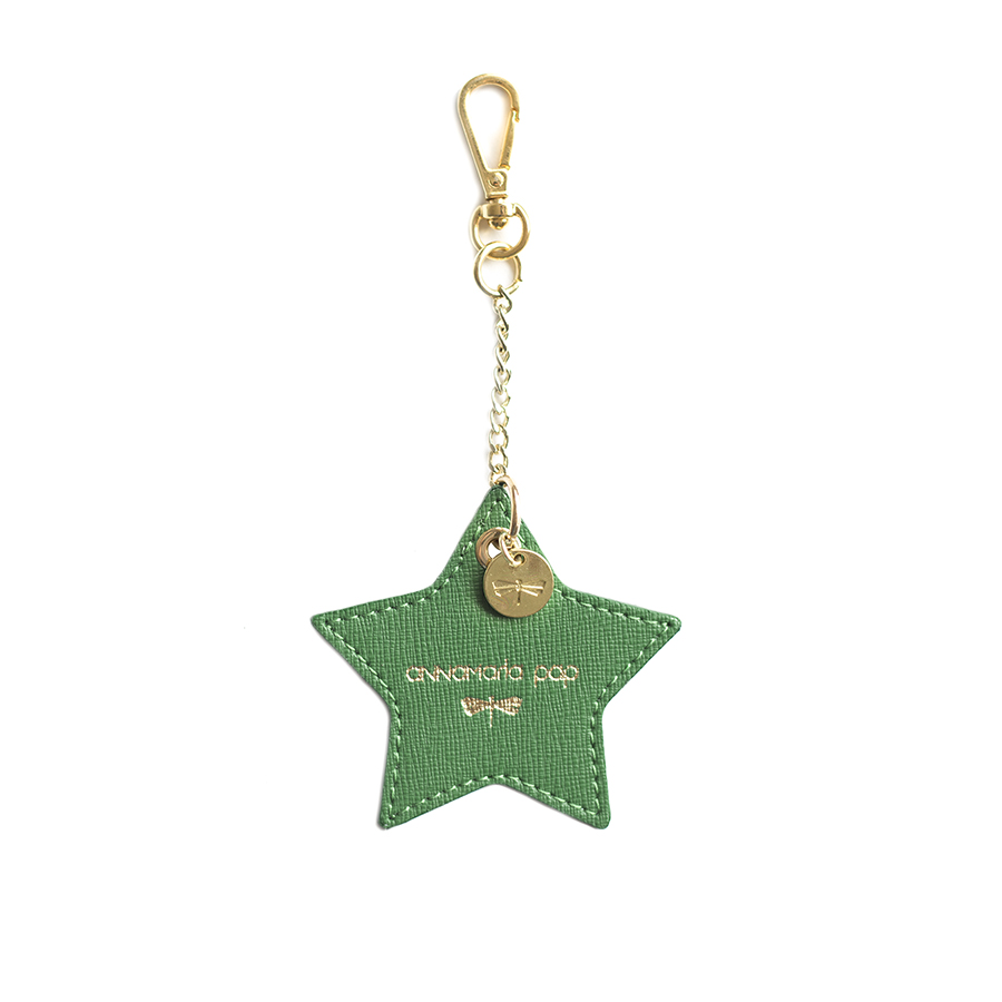 STAR Emerald leather charm
