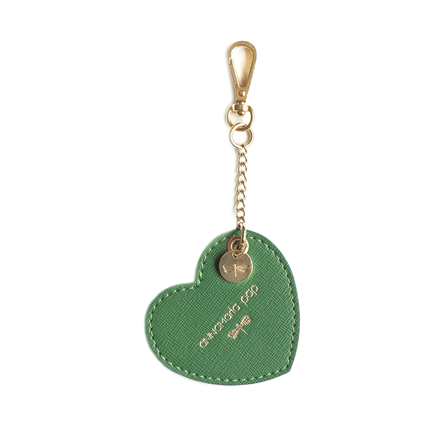 HEART Emerald leather charm