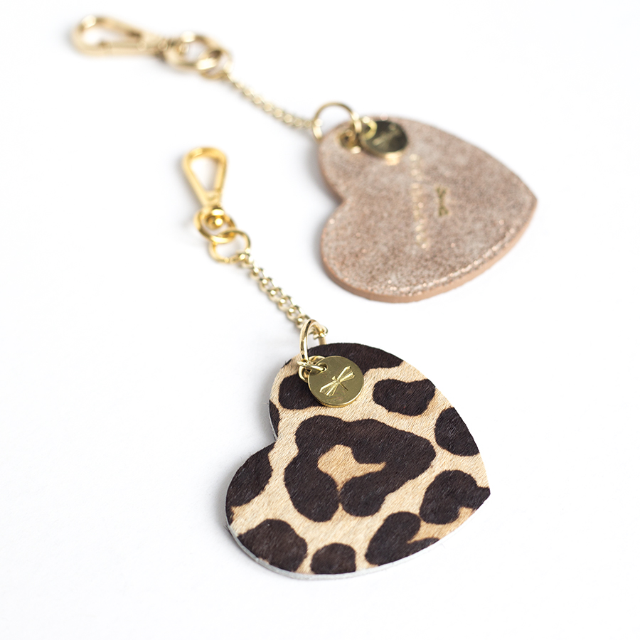 HEART Leopard leather charm