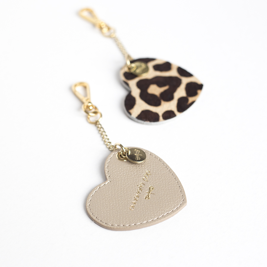 HEART Champagne leather charm