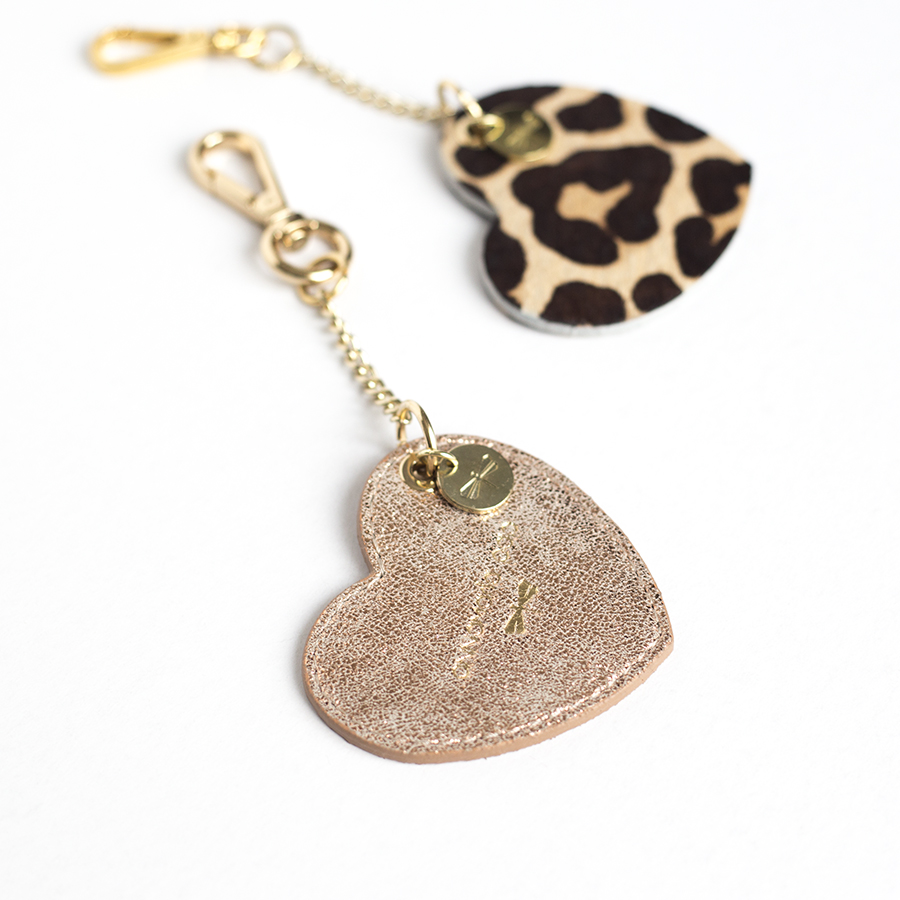 HEART Rosé glitter leather charm