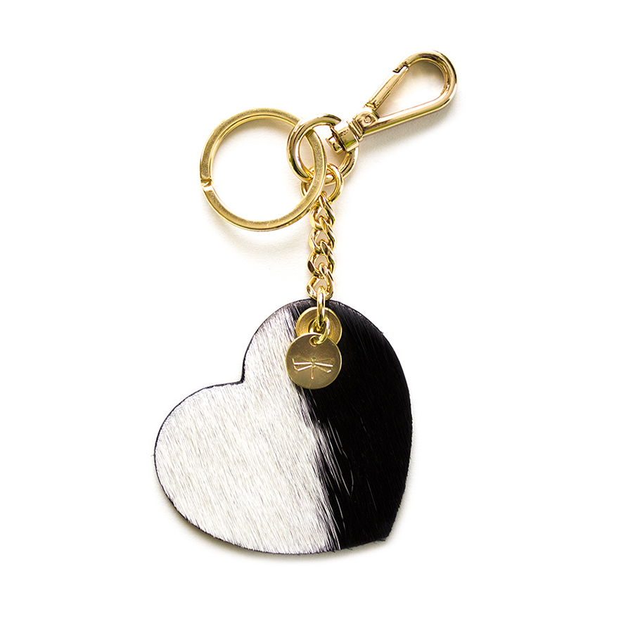 HEART Fur (black & white) leather charm