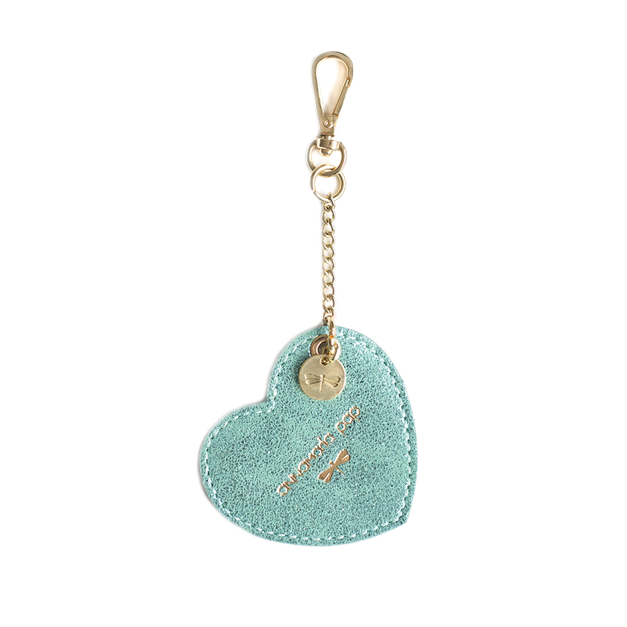 HEART Turquise glitter leather charm