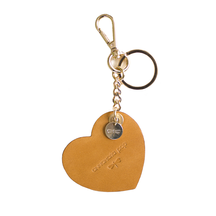 HEART Cognac leather charm