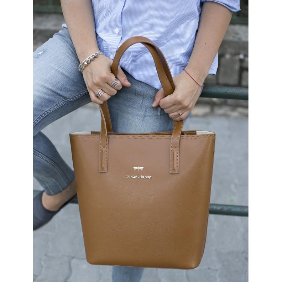 DORIS Cinnamon leather bag