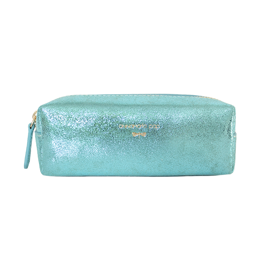 GWEN Turquoise glitter leather pouch / pencil case