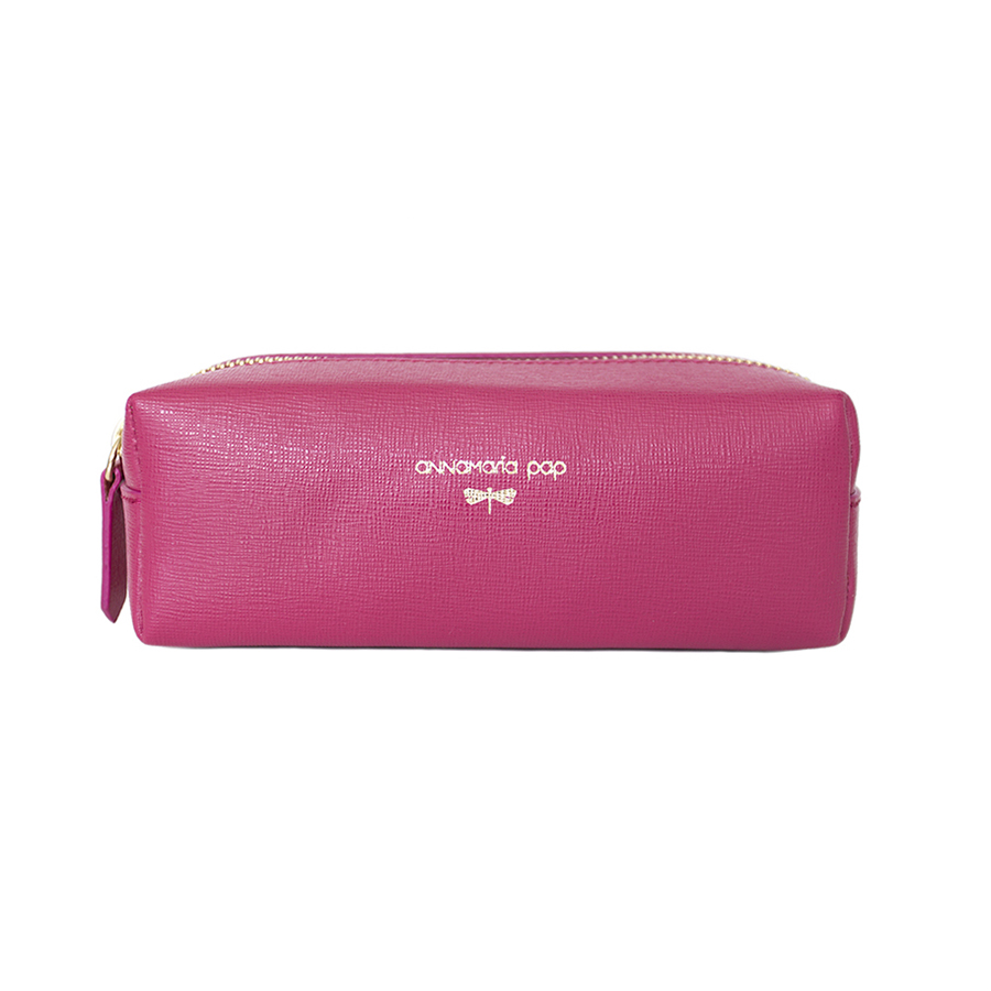 GWEN Raspberry glitter leather pouch