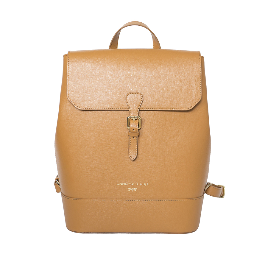 HALEY Cognac leather backpack