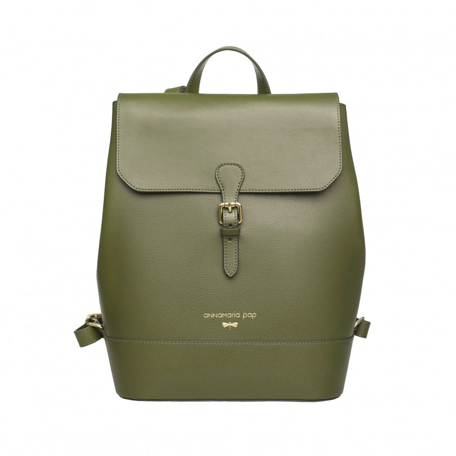 HALEY Olive leather backpack