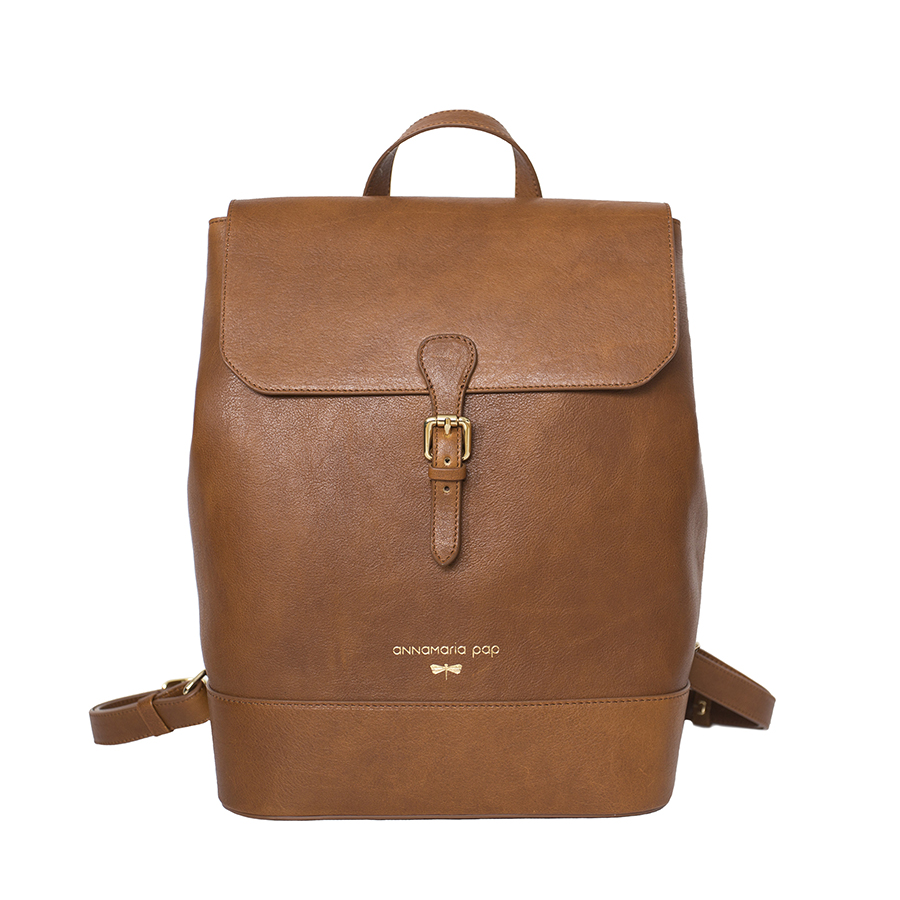 HALEY Brown natural leather backpack