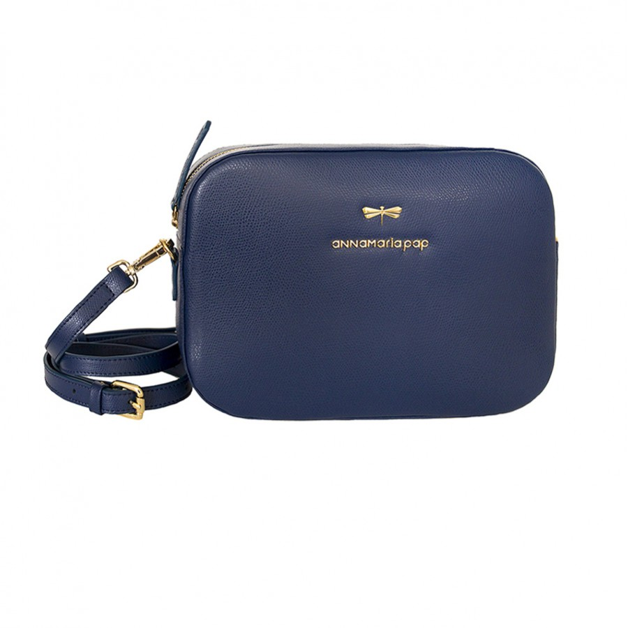 KAREN Navy blue leather bag