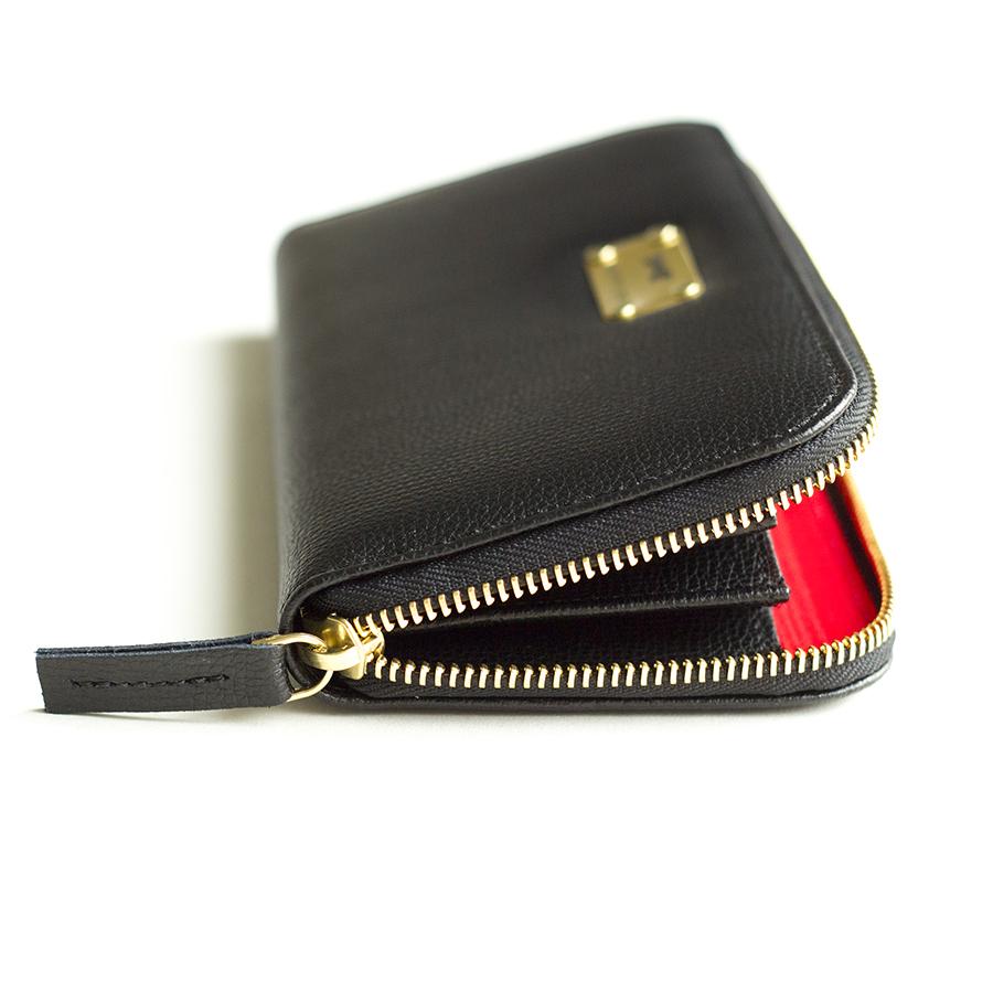 LILIAN Black bőrpénztárca