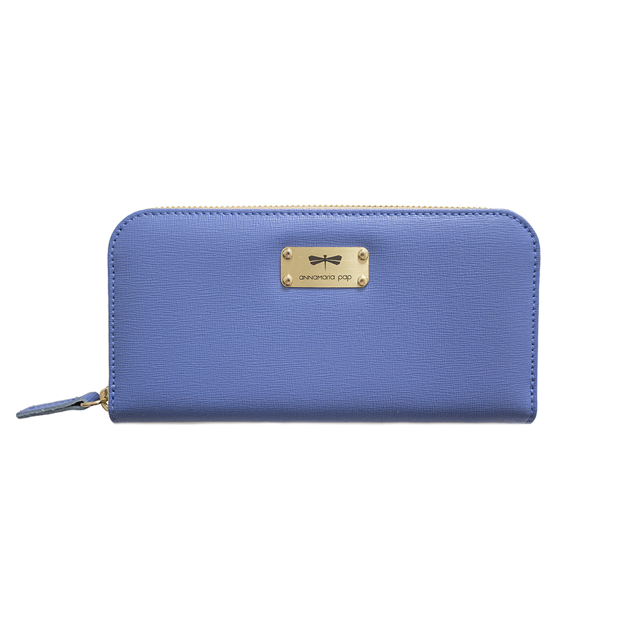 LILIAN Plum blue leather wallet
