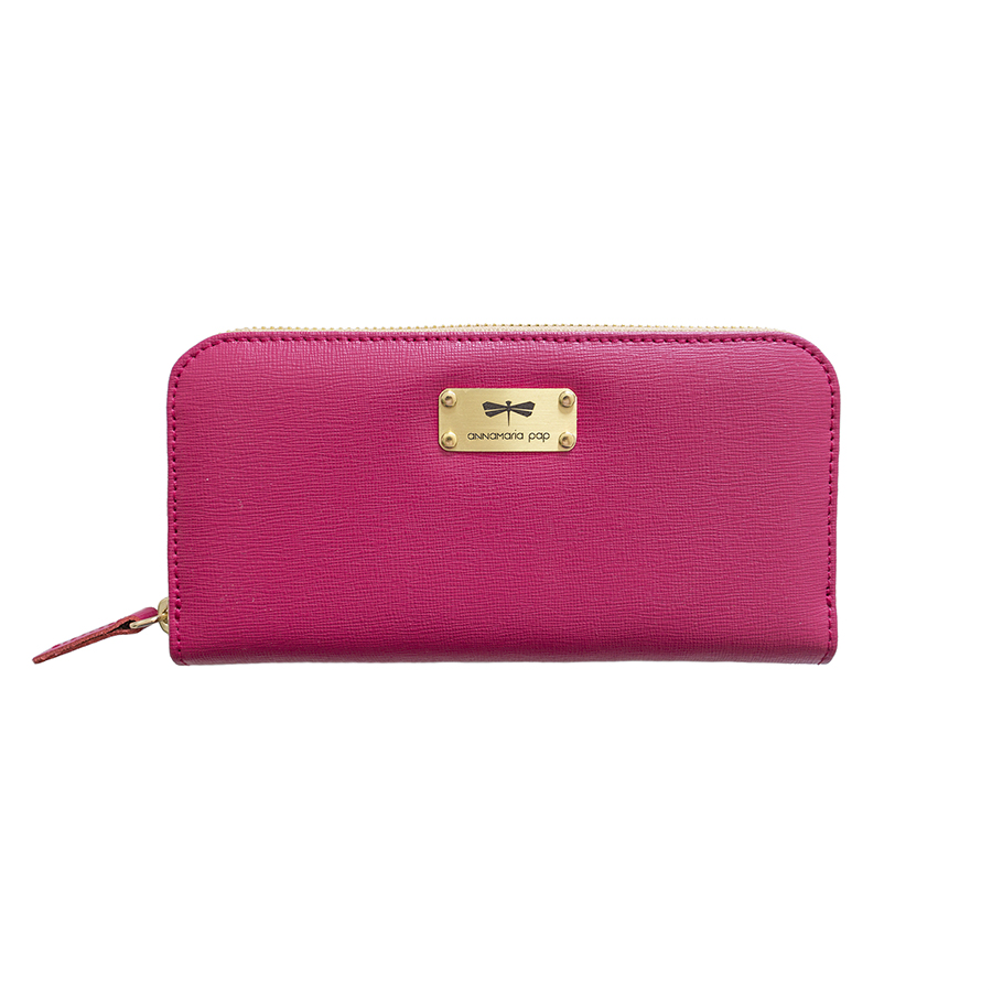 LILIAN Raspberry leather wallet