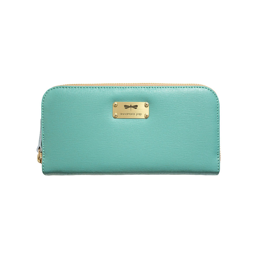 LILIAN Turquoise leather wallet
